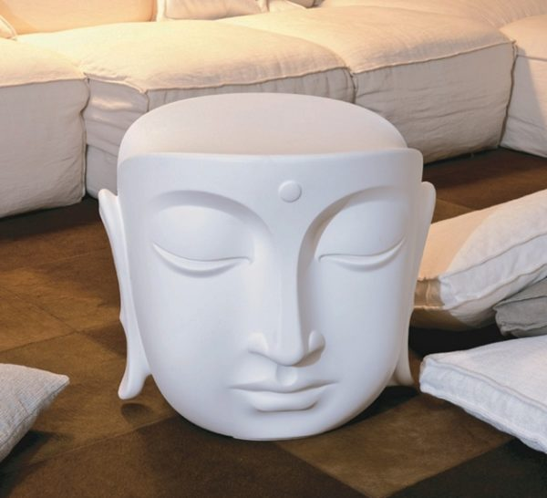 outdoors ; indoor ; Fiberglass statue ; decorate ; Large scale ; City decoration ; garden ; Park decoration ; Chair ; Chair sculpture ; Chair statue ; Life Size ; cartoon ; New product fiberglass Buddha head chair statue for home decoration
