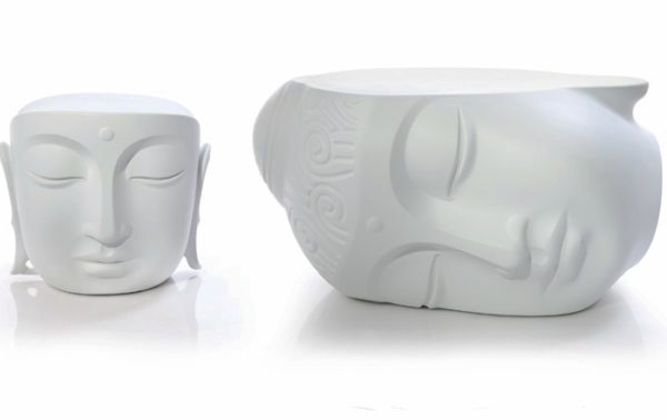 outdoors ; indoor ; Fiberglass statue ; decorate ; Large scale ; City decoration ; garden ; Park decoration ; Chair ; Chair sculpture ; Chair statue ; Life Size ; cartoon ; Fiberglass white buddha head chair table statue for indoor decoration