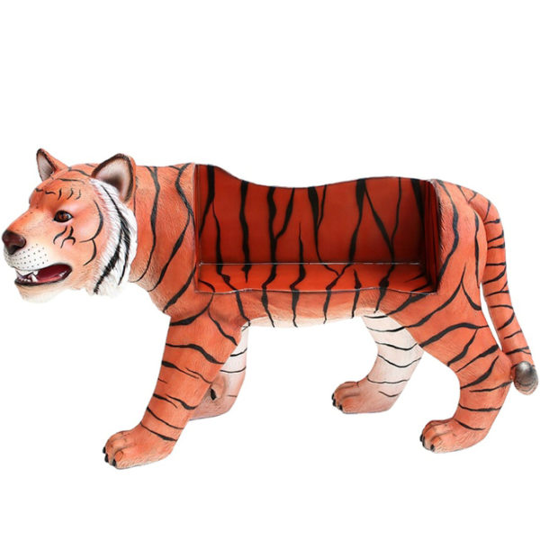 outdoors ; indoor ; Fiberglass statue ; decorate ; Large scale ; City decoration ; garden ; Park decoration ; Chair ; Chair sculpture ; Chair statue ; Life Size ; cartoon ; Custom life size tiger bench statue for garden and park decoration