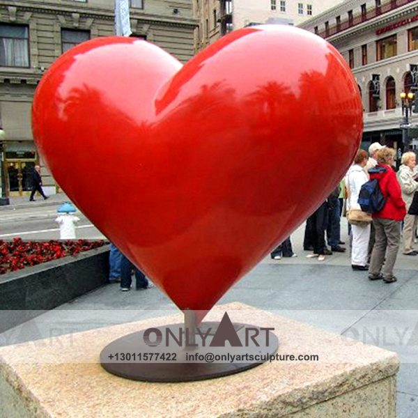 modern art ; large scale ; landscape sculpture ; square sculptures ; Street sculpture ; polychrome ; Colourful ; garden decoration ; Park decoration ; interior decoration ; Outdoor decoration ; Fiberglass ; Glass fiber red heart sculpture square decoration