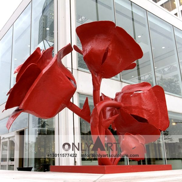 modern art ; large scale ; landscape sculpture ; square sculptures ; Street sculpture ; polychrome ; Colourful ; garden decoration ; Park decoration ; interior decoration ; Outdoor decoration ; Fiberglass ; Avenue decorated with Fiberglass Red rose sculpture