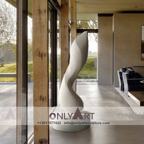 abstract sculpture ; famous abstract sculptures ; abstract figure sculpture ; modern abstract art sculpture ; Interior is decorated white marble abstract sculpture
