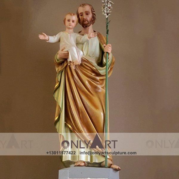 outdoor ; life size ; park decoration ; jesus statue ; jesus family ; church ; catholic statue ; Fiberglass Saint Joseph and baby jesus statue