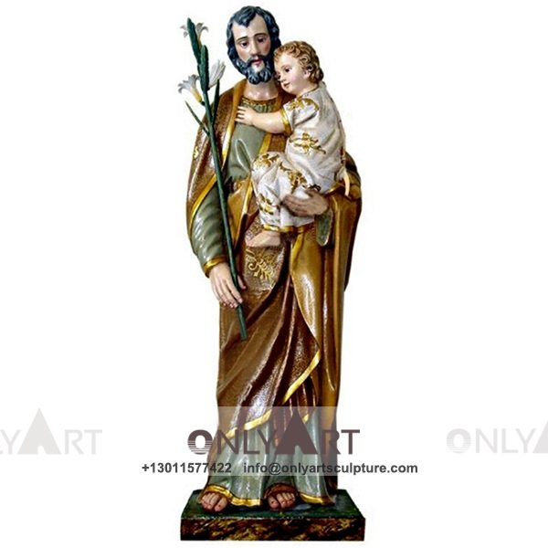 outdoor ; life size ; park decoration ; jesus statue ; jesus family ; church ; catholic statue ; Customized christian figure resin Joseph holding baby jesus statue