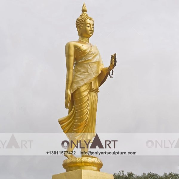 outdoor ; life size ; park decoration ; buddha statue ; art figurines ; thai buddha statue ; home decoration ; life size fiberglass gold thai buddha statue