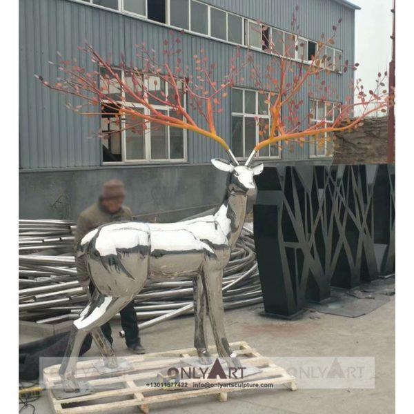 Mirror Polished Stainless Steel Deer Staute Metal Outdoor Decoration Animal Sculpture