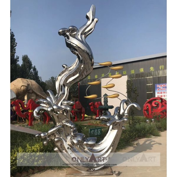 Large Outdoor Mirror Polished Abstract Modern Art Sculpture Stainless Steel