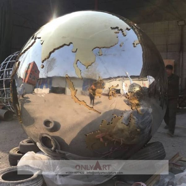 City Image Public Globe Sign Hollow Ball Stainless Steel Sculpture